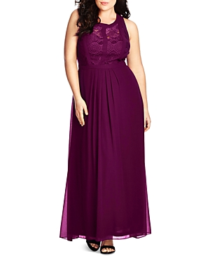 City Chic Lace Inset Maxi Dress