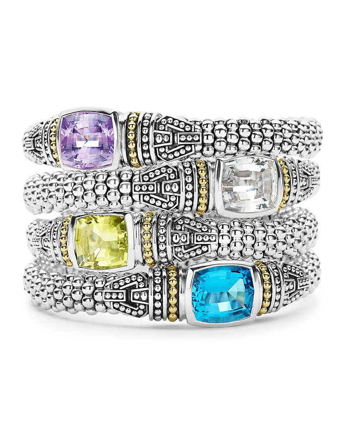 LAGOS - 18K Gold and Sterling Silver Caviar Color Small Gemstone Bracelets, 9mm