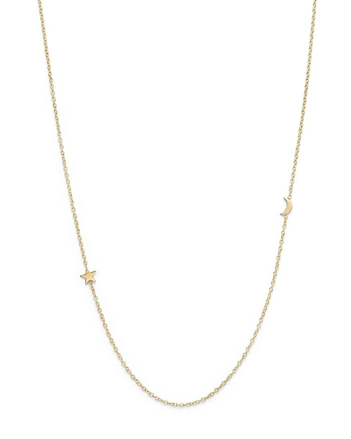 """Zoë Chicco - 14K Yellow Gold Itty Bitty Crescent Moon and Star Necklace, 18"""""""