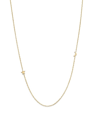 Zoe Chicco 14K Yellow Gold Itty Bitty Crescent Moon and Star Necklace, 18