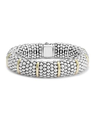 Sterling Silver Signature Caviar Bracelet with 18K Yellow Gold Stations