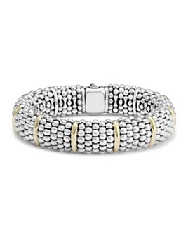 LAGOS - Sterling Silver Signature Caviar Bracelet with 18K Yellow Gold Stations