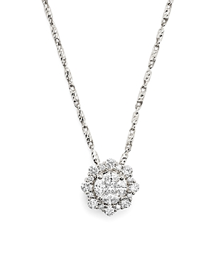 Diamond Cluster Pendant Necklace in 14K White Gold .60 ct. t.w. - 100% Exclusive