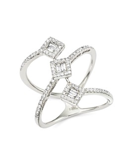 Bloomingdale's - Diamond Round and Baguette Statement Ring in 14K White Gold, 0.50 ct. t.w.- 100% Exclusive