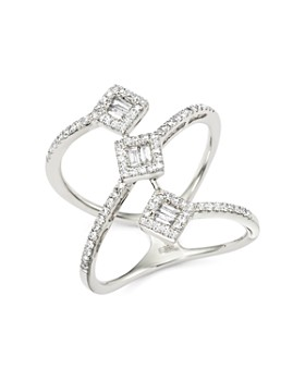 Bloomingdale's - Diamond Round and Baguette Statement Ring in 14K White Gold, 0.50 ct. t.w. - 100% Exclusive
