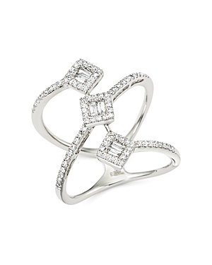 Diamond Round and Baguette Statement Ring in 14K White Gold, .50 ct. t.w. - 100% Exclusive