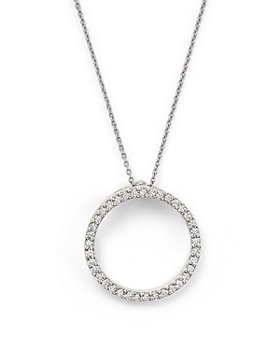 Roberto Coin - 18K White Gold Small Circle Pendant Necklace with Diamonds, 16""
