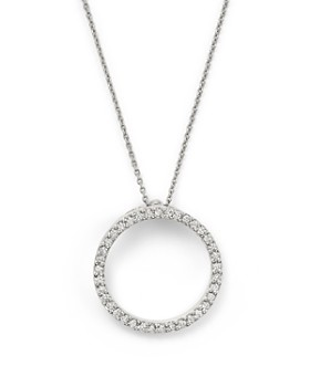 """Roberto Coin - 18K White Gold Small Circle Pendant Necklace with Diamonds, 16"""""""