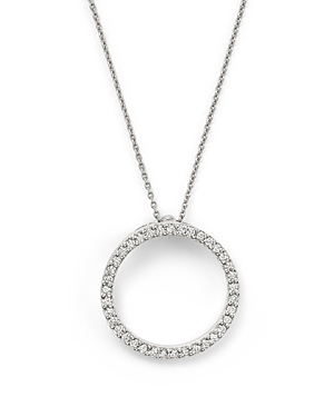 Roberto Coin 18K White Gold Small Circle Pendant Necklace with Diamonds, 16