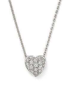 "Roberto Coin - 18K White Gold Heart Pendant Necklace with Pavé Diamonds, 18"""