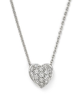 Roberto Coin - 18K White Gold Heart Pendant Necklace with Pavé Diamonds, 18""