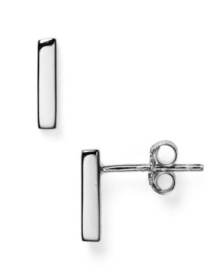 ARGENTO VIVO Straight Bar Stud Earrings in Silver