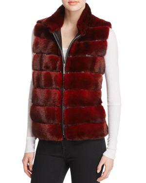 Maximilian Furs Leather-Trim Mink Vest