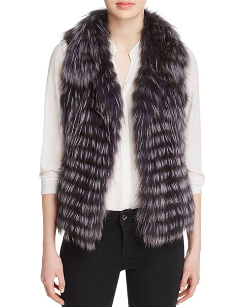 Maximilian Furs - Thin Collar Nafa Fox Fur Vest