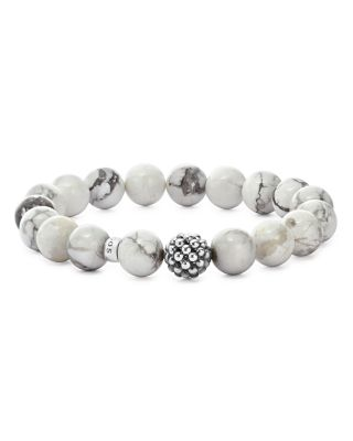 Sterling Silver Maya Ball Beaded Howlite Bracelet, 10Mm