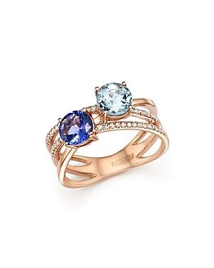 Tanzanite, Aquamarine and Diamond Two Stone Ring in 14K Rose Gold - 100% Exclusive