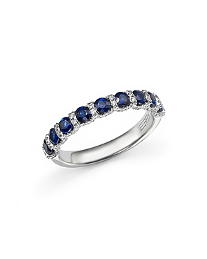 Click here for Sapphire and Diamond Band Ring in 14K White Gold prices