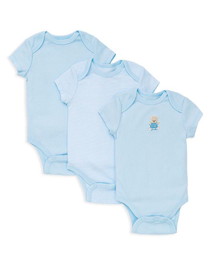 Little Me - Boys' Bear Bodysuit, 3 Pack - Baby