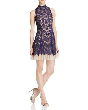 AQUA - Mock-Neck Lace Dress - 100% Exclusive