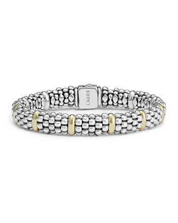 LAGOS - Sterling Silver & 18K Yellow Gold Caviar Beaded Oval Bracelet