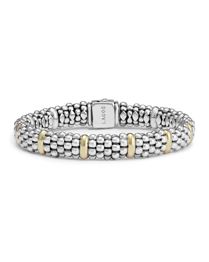 LAGOS - Sterling Silver & 18K Yellow Gold Caviar Beaded Oval Bracelets