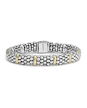 Lagos Sterling Silver and 18K Yellow Gold Caviar Beaded Oval Bracelet