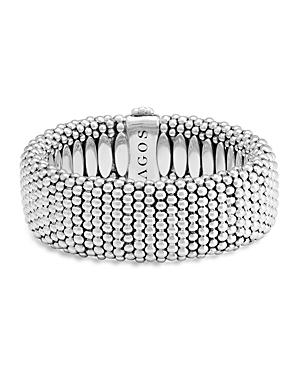 Lagos Sterling Silver Caviar Wide Bracelet