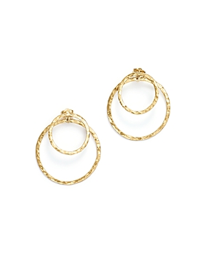 14K Yellow Gold Hammered Double Ring Drop Earrings - 100% Exclusive
