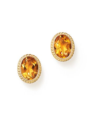 Bloomingdale's - Citrine Oval Bezel Stud Earrings in 14K Yellow Gold - 100% Exclusive