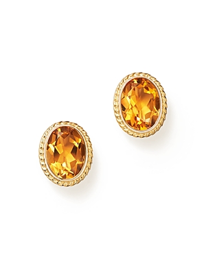 Citrine Bezel Set Small Stud Earrings in 14K Yellow Gold - 100% Exclusive