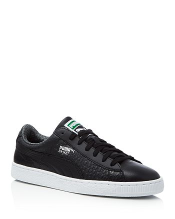 PUMA Men's Basket Classic Textured Lace Up Sneakers