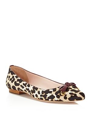 kate spade new york Emma Leopard Print Calf Hair Bow Flats