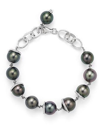 Tara Pearls - 18K White Gold Oscar Natural Color Tahitian Cultured Pearl and Diamond Bracelet