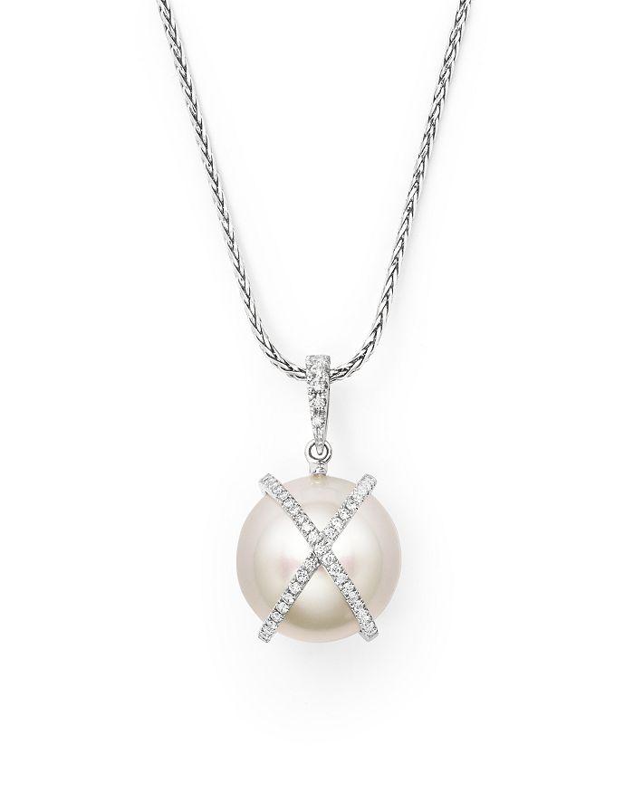 "Tara Pearls - 18K White Gold X & O Natural Color Baroque White South Sea Cultured Pearl and Diamond Pendant Necklace, 18"""