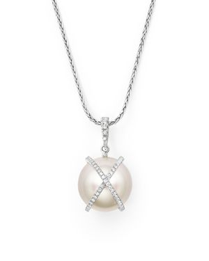 Tara Pearls 18K White Gold X & O Natural Color Baroque White South Sea Cultured Pearl and Diamond Pe