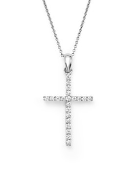 Bloomingdale's - Diamond Cross Pendant Necklace in 14K White Gold, .25 ct. t.w. - 100% Exclusive