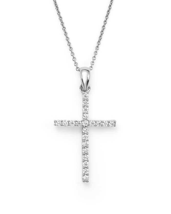 Bloomingdale's - Diamond Cross Pendant Necklace in 14K White Gold, .25 ct. t.w.- 100% Exclusive