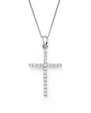 Diamond Cross Pendant Necklace in 14K White Gold, .25 ct. t.w. - 100% Exclusive