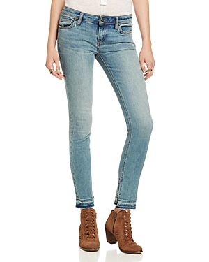 Free People Vented Cuff Skinny Jeans in Dark Denim