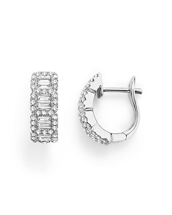Bloomingdale's - Round and Baguette Diamond Huggie Earrings in 14K White Gold, .75 ct. t.w. - 100% Exclusive
