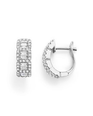 Round and Baguette Diamond Huggie Earrings in 14K White Gold, .75 ct. t.w. - 100% Exclusive