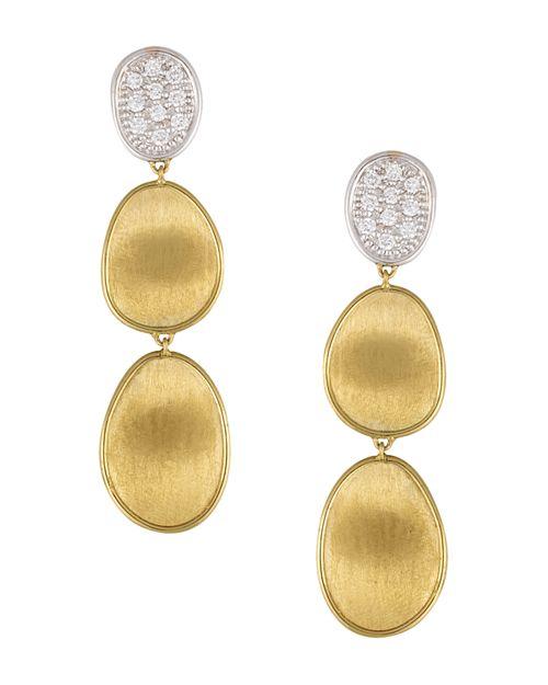 Marco Bicego - Diamond Lunaria Three Drop Small Earrings in 18K Yellow Gold