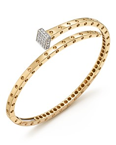 Roberto Coin - 18K Yellow and White Gold Pois Moi Chiodo Bangle with Diamonds - 100% Exclusive