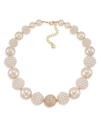 """Carolee - Simulated Pearl Beaded Collar Necklace, 16"""""""
