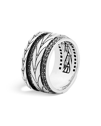 JOHN HARDY - Sterling Silver Modern Chain Band Ring with Black Sapphire