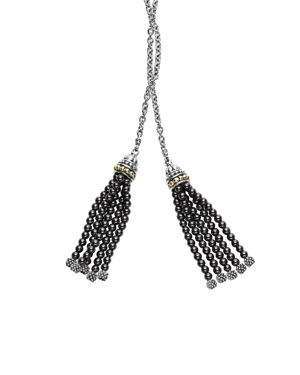 Lagos 18K Gold and Sterling Silver Caviar Icon Lariat Necklace with Hematite Tassels, 42