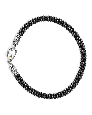Lagos Black Caviar Ceramic Sterling Silver and 18K Gold Bracelet, 6