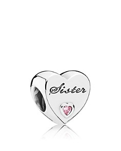 PANDORA Moments Collection Sterling Silver & Cubic Zirconia Sister's Love Charm - Bloomingdale's_0