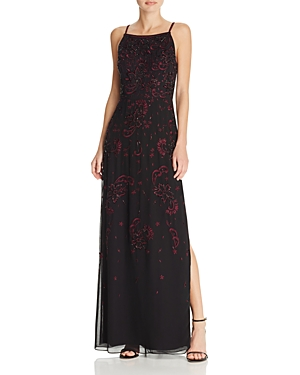 Aidan Mattox Contrast Floral Beaded Gown