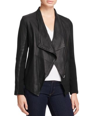 $BB DAKOTA Kenrick Draped Leather Coat - Bloomingdale's